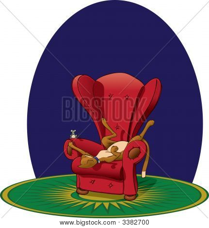 Cat Toying With Mouse In Chair