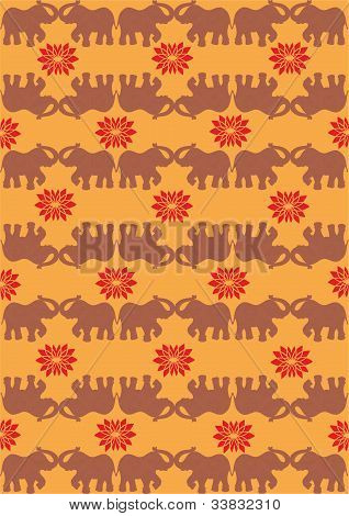 Festive Typical Indian Elephant Orange Background
