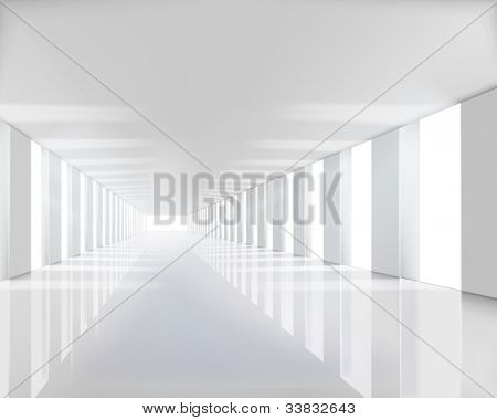 Empty white hall. Vector illustration.