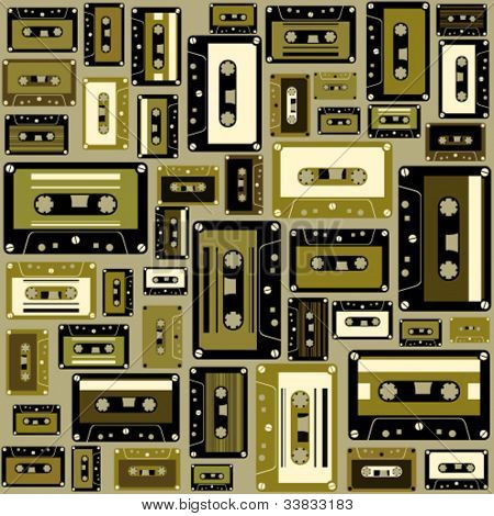 Cassette tape seamless pattern.