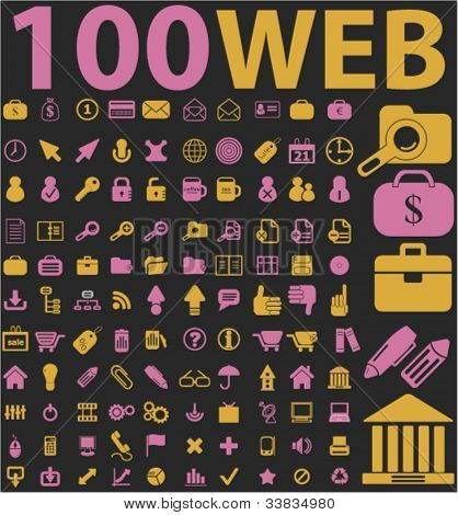 100 web icons set, vector