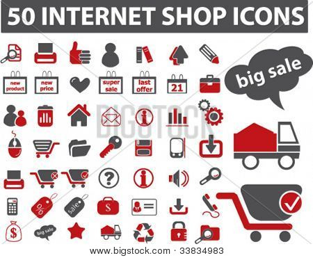 50 internet shop icons set, vector