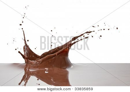 splash chocolate closeup aislado sobre fondo blanco
