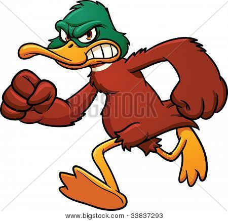 Angry cartoon duck mascot running. Vector illustration wit simple gradients. All in a single layer.
