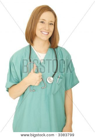 Smiling Woman Nurse Give Ok Sign
