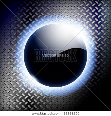 Techno background with blue light frame.