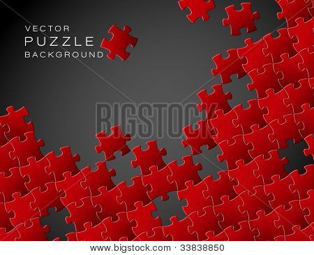 Vector Abstract background made from red puzzle pieces and place for your content