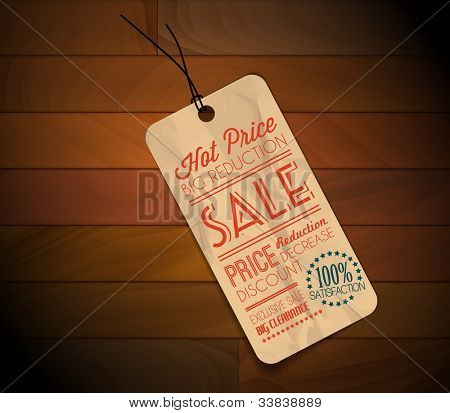 Old retro vintage grunge tag for item in sale