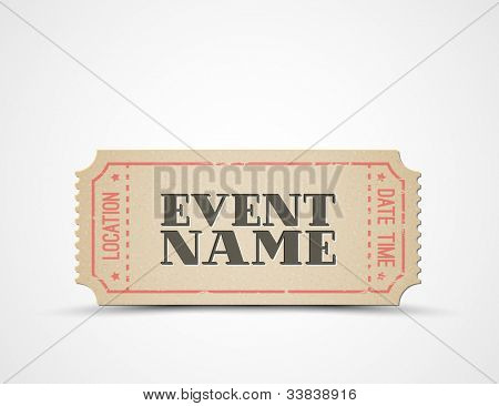 Vector ticket template for your event - brown and red
