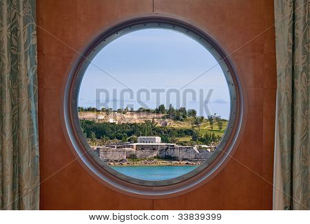 Fort Saint Catherine In Bermuda As Seen Through A Ship Porthole