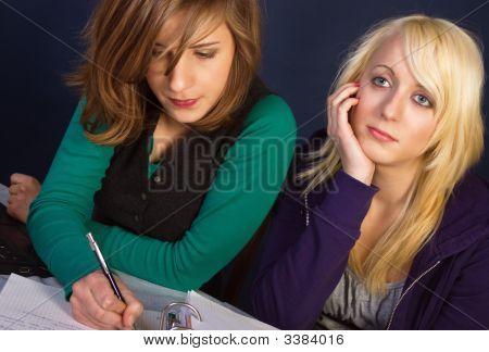 Two Girls With Their Homework