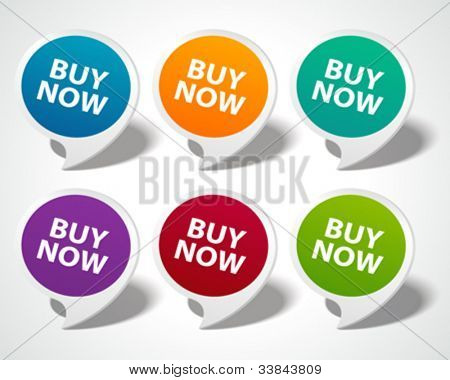 Speech bubbles set with buy now message vector illustration Eps 10.