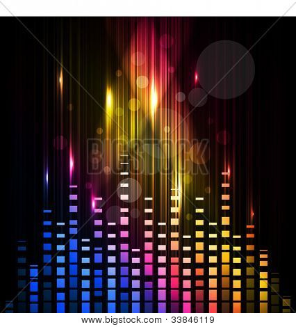 Abstract colorful shiny musical background with volume sign, can be use as flyer, banner or poster for discotheque, party and other events. EPS 10. Vector illustration.