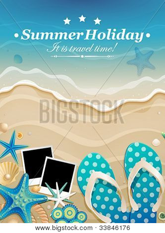 Summer background with shells and pictures on sand. Vector illustration.