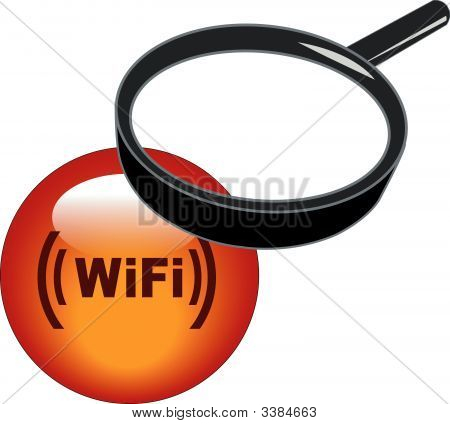 Magnifying Glass On Wifi Button.