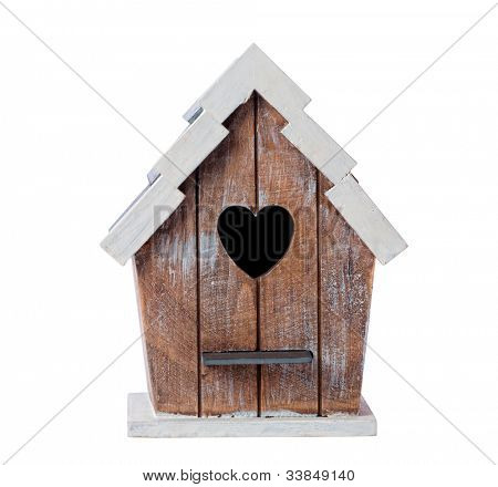 Wooden bird house isolated on a white background