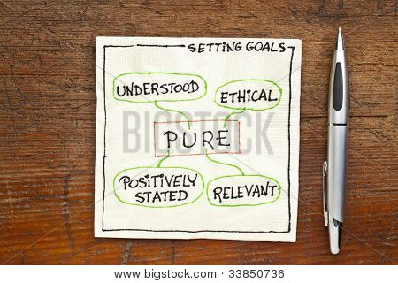 PURE (positively stated, understood, ethical) goal setting concept - a napkin doodle on a grunge wooden table