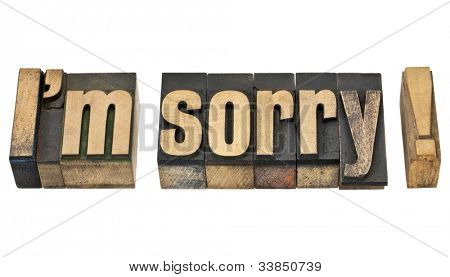 I am sorry  - isolated phrase in vintage letterpress wood type