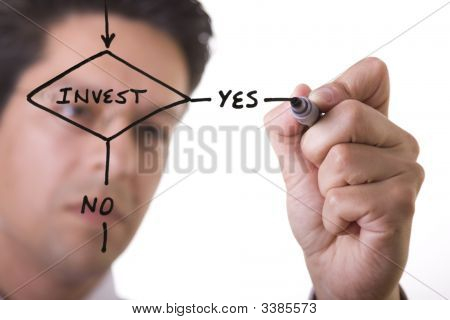 Businessman Drawing A Flowchart