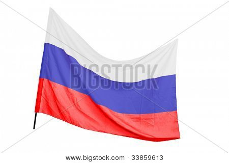 A studio shot of a russian flag waving isolated on white background