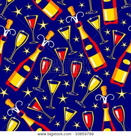 Seamless pattern with bottles end glasses