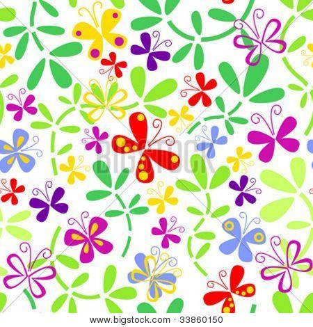 Seamless floral Pattern mit Schmetterlingen
