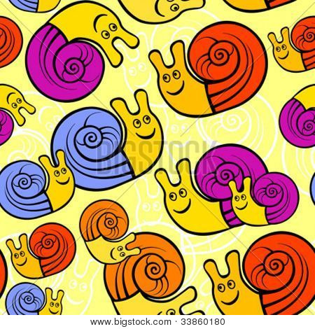 Seamless pattern with funny snails