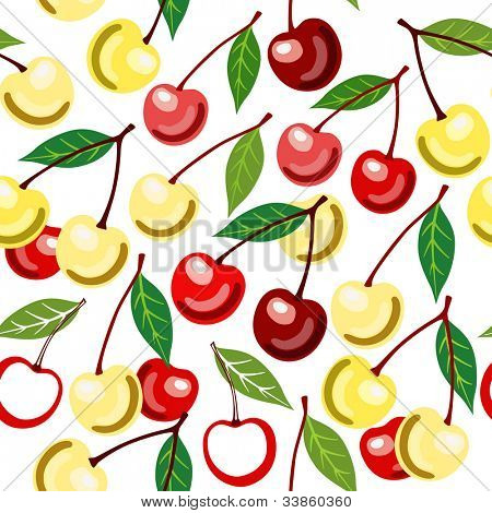 Sweet cherry seamless pattern. Jpg version, see vector in my portfolio