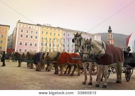 Horses and carriages are waiting for tourists