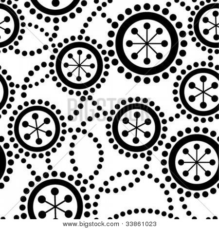 Black-and-white retro seamless ornament