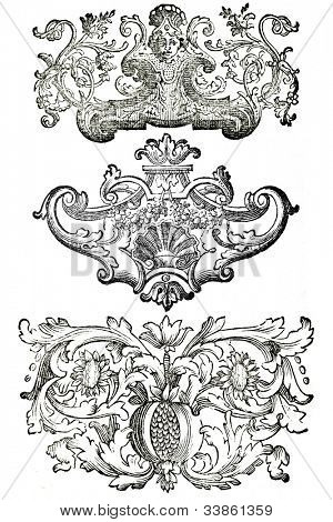 Set of vintage design elements. Based on of 18 century engravings. Copyright expired.