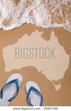 Australian Textured Map In Wet Sand On The Beach