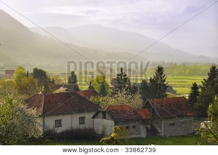 Rural landscape under the rain