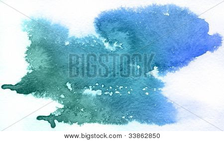 Blue spot, watercolor abstract hand painted background