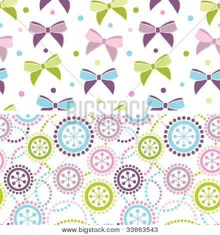 Set of seamless ornaments in pastel colors
