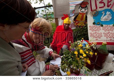 VINNICI, LENINGRAD REGION, RUSSIA - JUNE 10: People celebrate the annual holiday Vepsian national culture