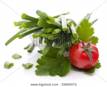 Spring onions and cherry tomato in bowl isolated on white background cutout