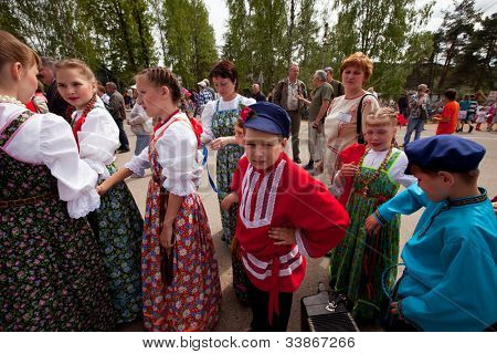 VINNICI, LENINGRAD REGION, RUSSIA - JUNE 10: Unknown children during celebrate the annual holiday Vepsian national culture