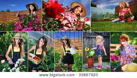 Woman gardening series