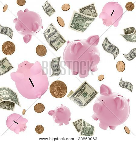 Piggy banks and American money flying over white background.