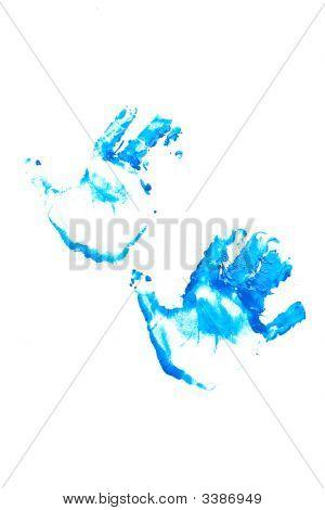 Blue Hand Prints