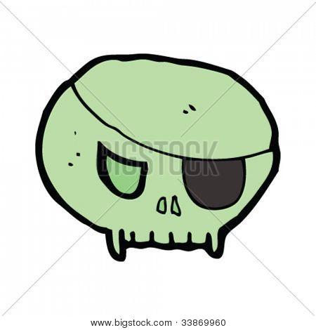 spooky cartoon skull with eye patch