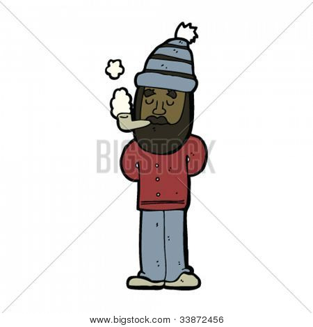 cartoon tidy bearded man smoking pipe