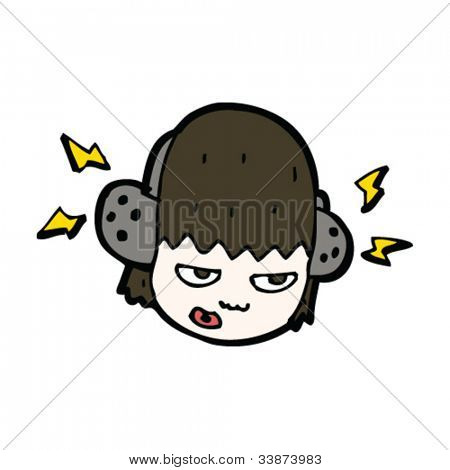 cartoon girl listening to music