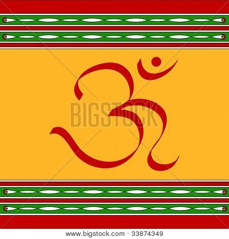 Divine OM symbol with artistic border