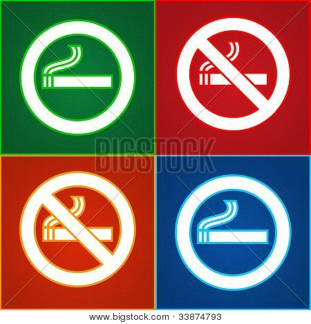 Stickers set - No smoking area labels