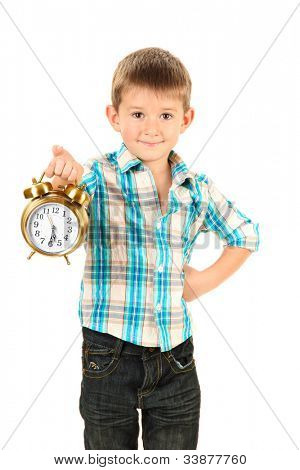 funny little boy with alarm clock isolated on white