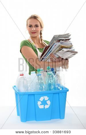 Recycling paper and plastic bottles