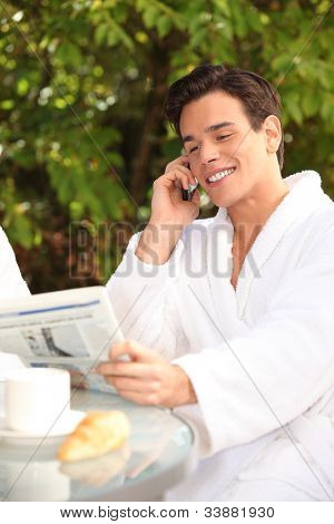 Man enjoying a relaxing weekend at the spa