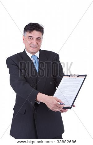 senior  businessman showing contract ready  for signing,  isolated on white background